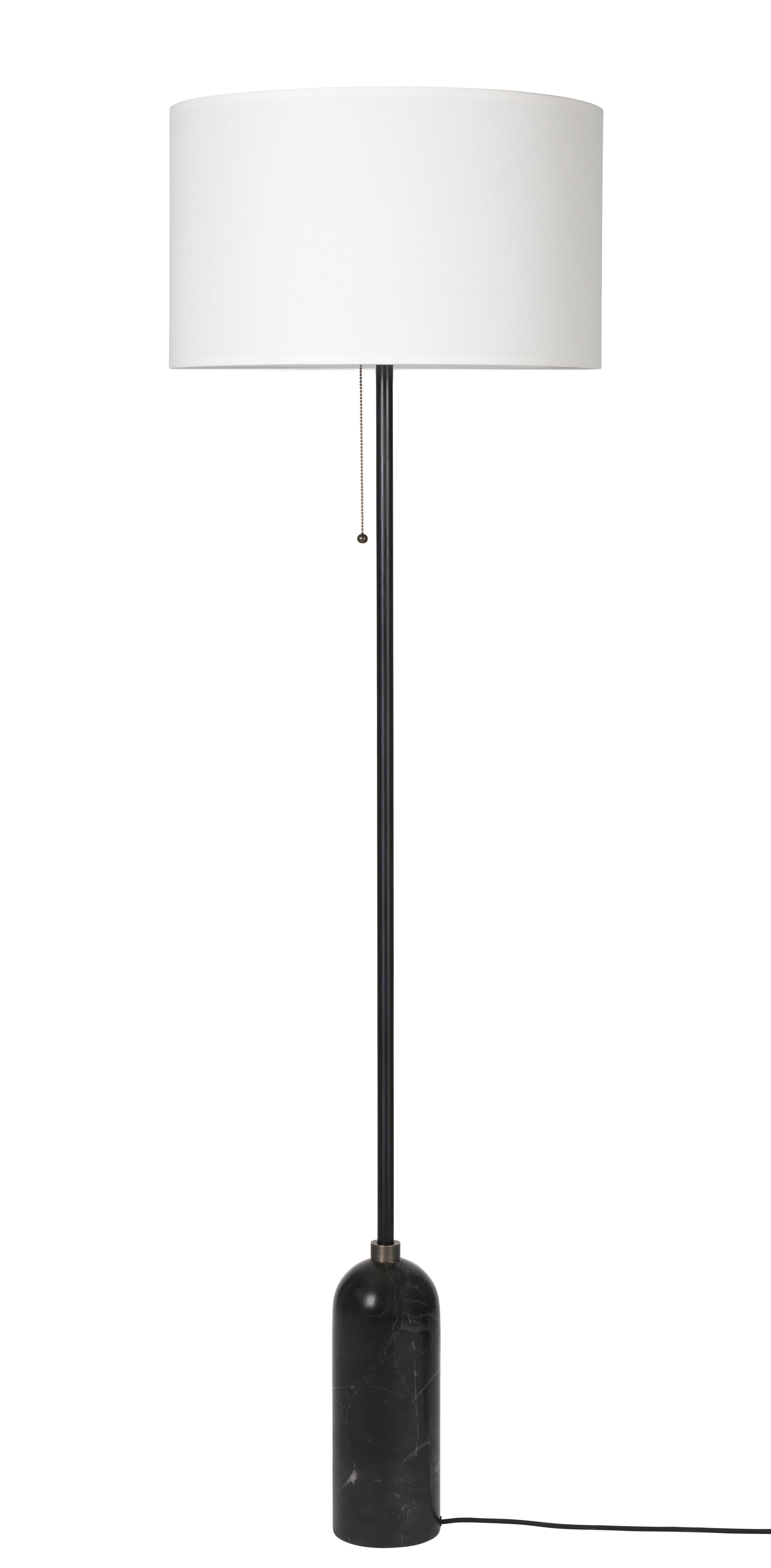 Illuminazione - Lampadari - Lampada a stelo Gravity - / Con dimmer - Ø 50 x H 169 cm di Gubi - Marmo nero / Paralume bianco - Marmo, Tessuto
