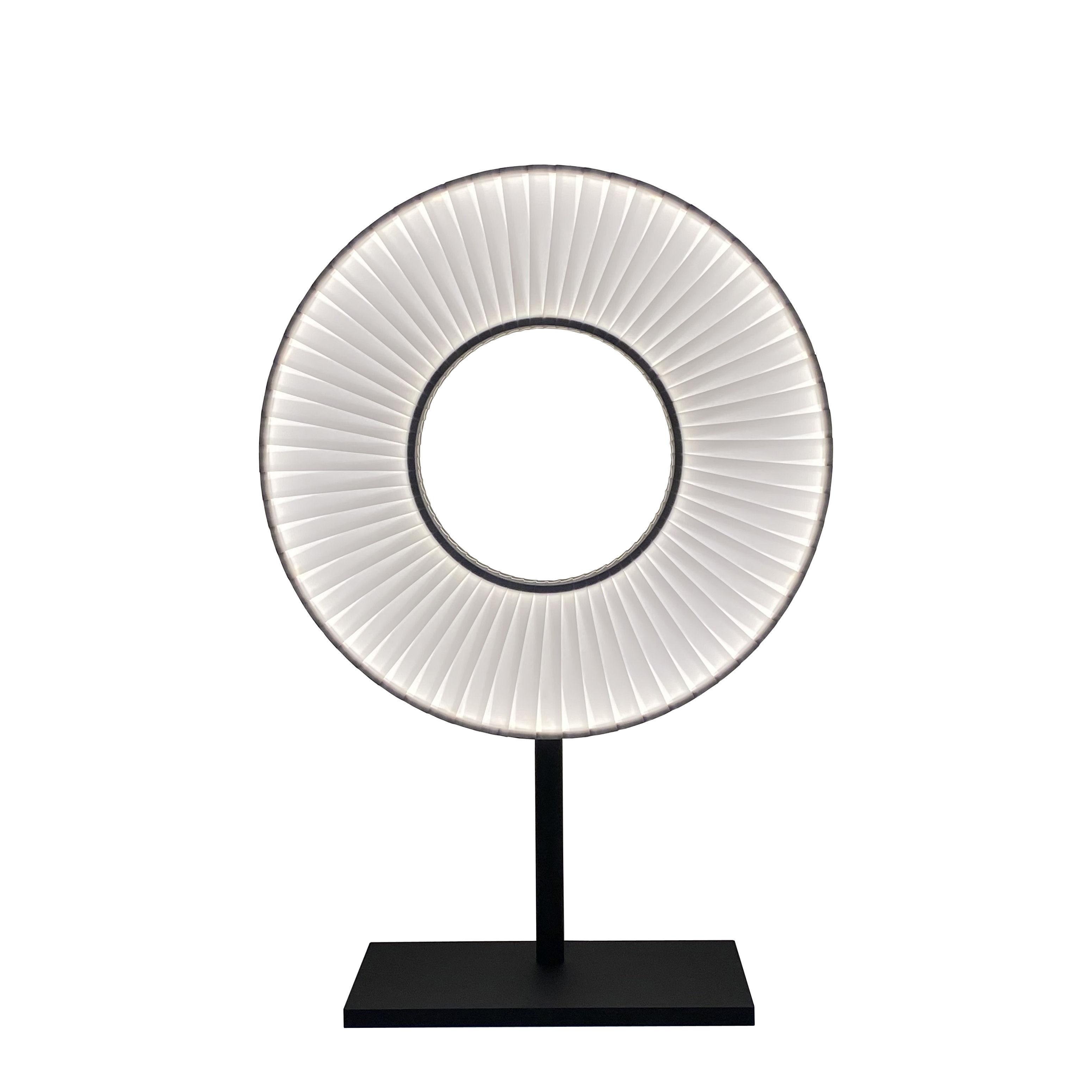 Illuminazione - Lampade da tavolo - Lampada da tavolo Iris - LED / H 61 cm - Tessuto & illuminazione a due facce di Dix Heures Dix - Bianco & Nero - metallo laccato, Tessuto poliestere