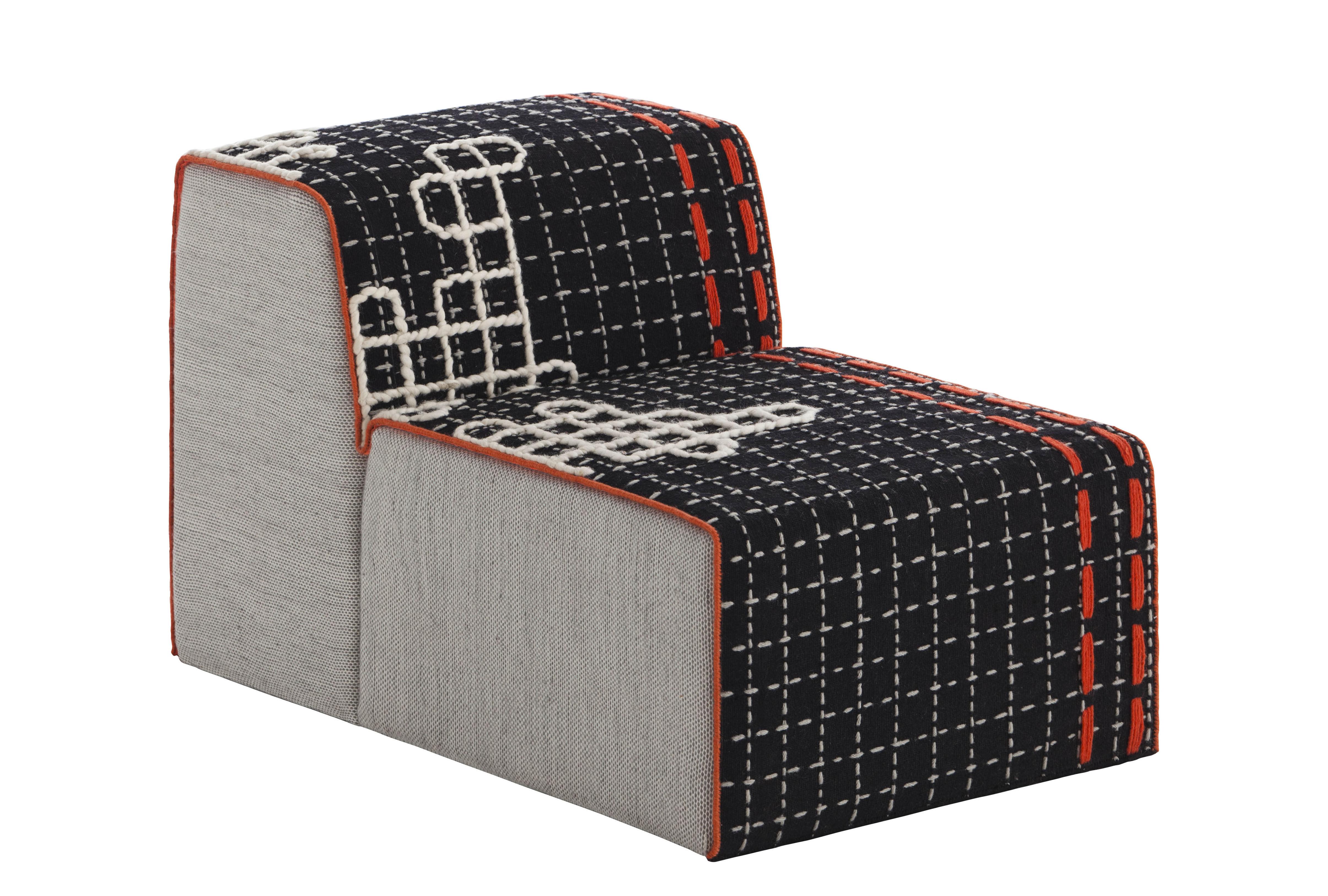 Furniture - Sofas - Bandas Modular sofa - L 95 cm by Gan - Black - Wool