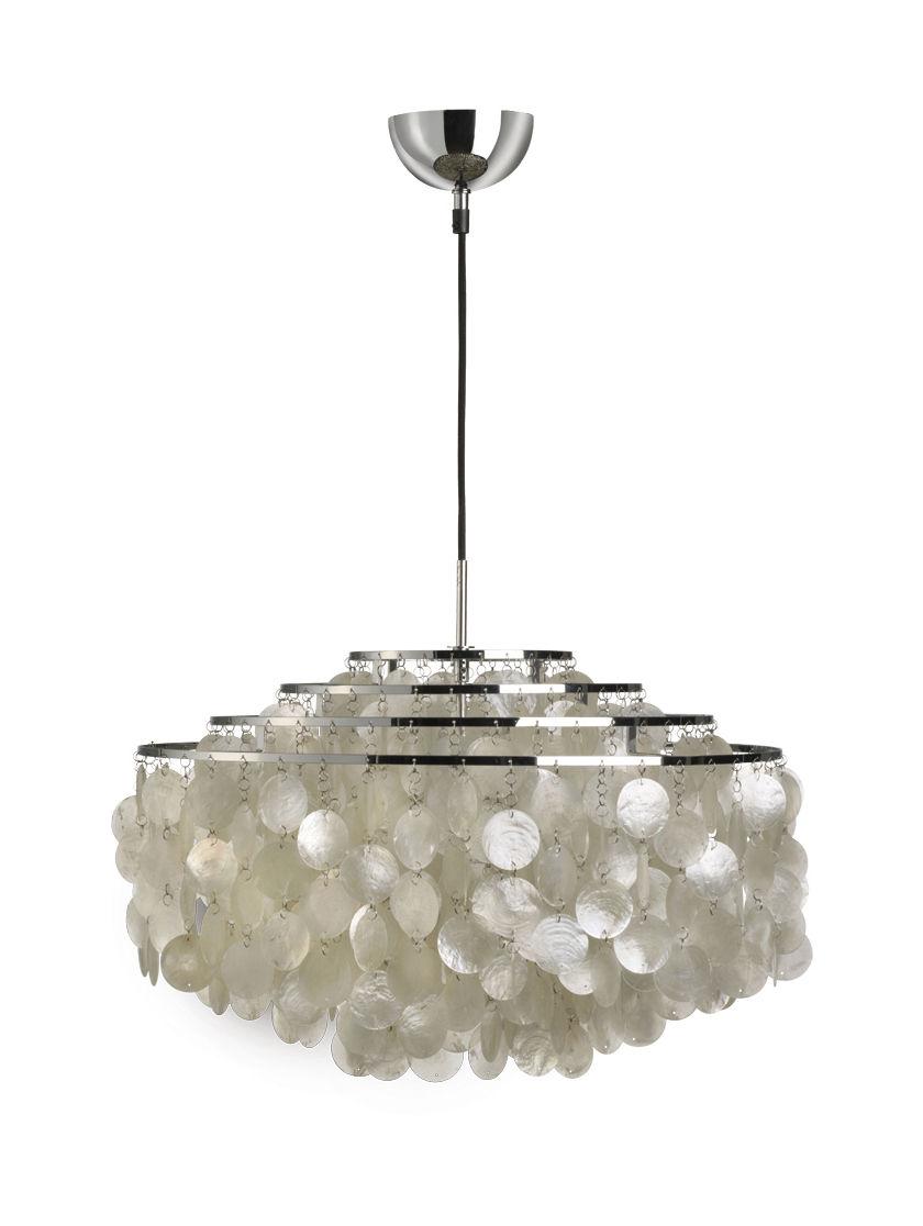 Lighting - Fun 10DM Pendant - Ø 57 cm - Panton 1964 by Verpan - Ø 57 cm - Mother-of-pearl & Chrome - Metal, Pearly
