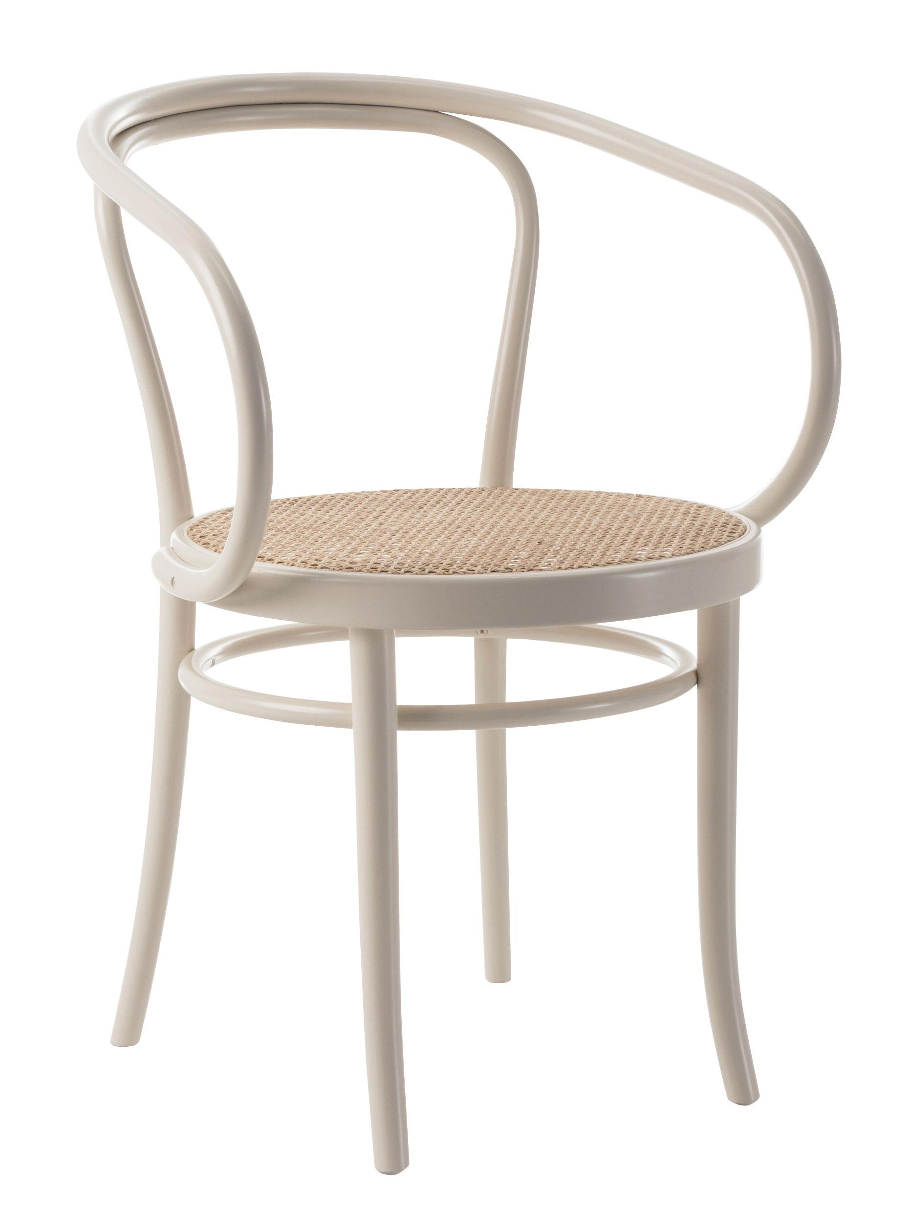 Arredamento - Sedie  - Poltrona Wiener Stuhl - / seduta impagliata - Riedizione 1904 di Wiener GTV Design - Seduta paglia / Bianco - Faggio massello curvato, Paglia