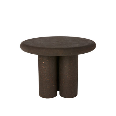Furniture - Dining Tables - Cork Round table - / Recycled cork - Ø 100 cm by Tom Dixon - Dark brown - Burnt recycled cork