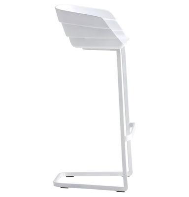 Arredamento - Sgabelli da bar  - Sedia da bar Rift - H 77 cm - Cantilever di Moroso - Bianco/Base bianco - Acciaio verniciato, Poliuretano