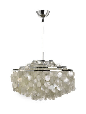 Illuminazione - Sospensione Fun 10DM - Ø 57 cm - Panton 1964 di Verpan - Ø 57 cm - Madreperla e acciaio cromato - Madreperla, Metallo