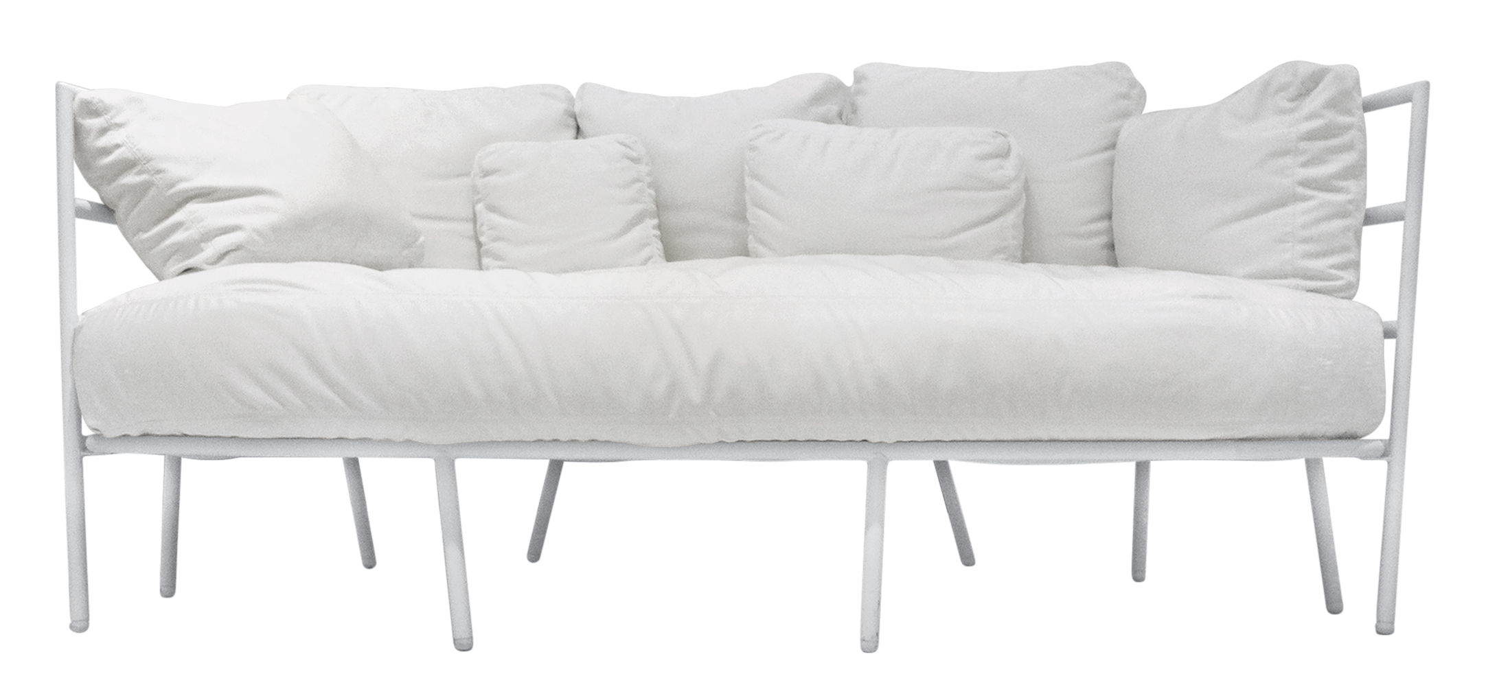 Furniture - Sofas - Dehors Straight sofa - Outdoor / 2 seaters by Alias - White structure / White cushions - Acrylic fabric, Lacquered steel