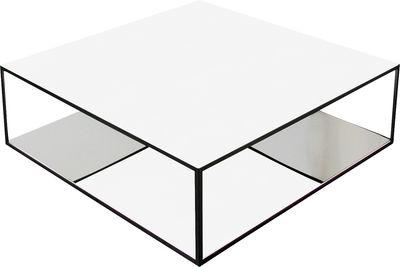 Table basse Double Skin - Zeus blanc,miroir en métal
