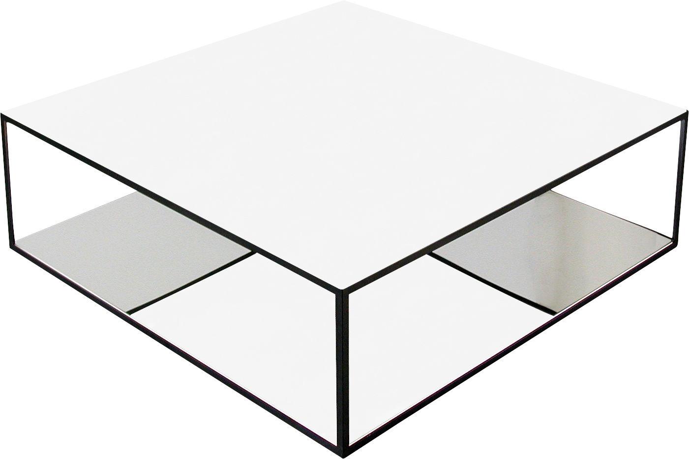 Mobilier - Tables basses - Table basse Double Skin - Zeus - Verre blanc & acier inoxydable poli - Acier peint, Acier poli, Verre laqué