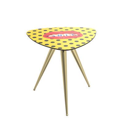 Table d'appoint Toiletpaper - Shit / 57 x 57 x H 48 cm - Seletti jaune,or en bois