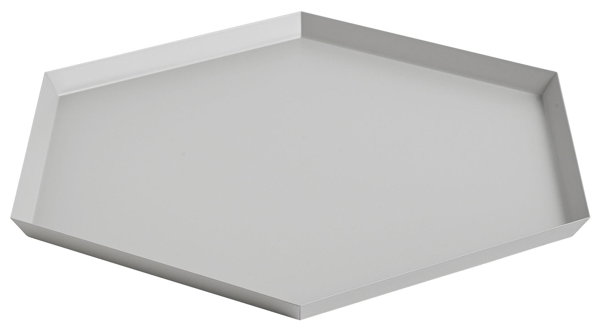 Tischkultur - Tabletts - Kaleido XL Tablett / 45 x 39 cm - Hay - Grau - bemalter Stahl