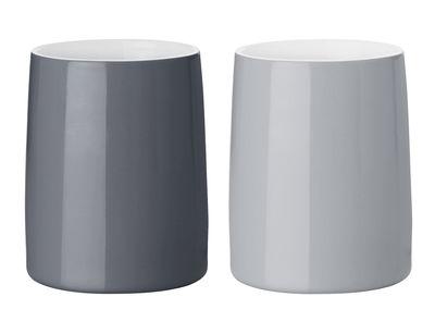 Arts de la table - Tasses et mugs - Tasse isotherme Emma / Set de 2 - Stelton - Gris clair / Gris foncé - Porcelaine