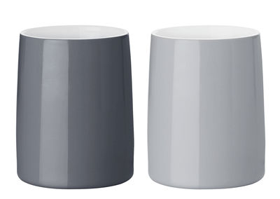 Tableware - Coffee Mugs & Tea Cups - Emma Thermal travel cup - Set of 2 / Thermo by Stelton - Light grey & Dark grey - China