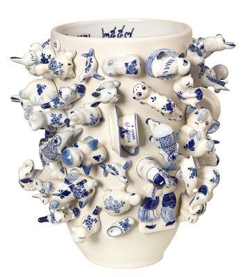 Dekoration - Vasen - Souvenir Holland Vase / H 25 cm - Pols Potten - Weiß / Blau - Porzellan