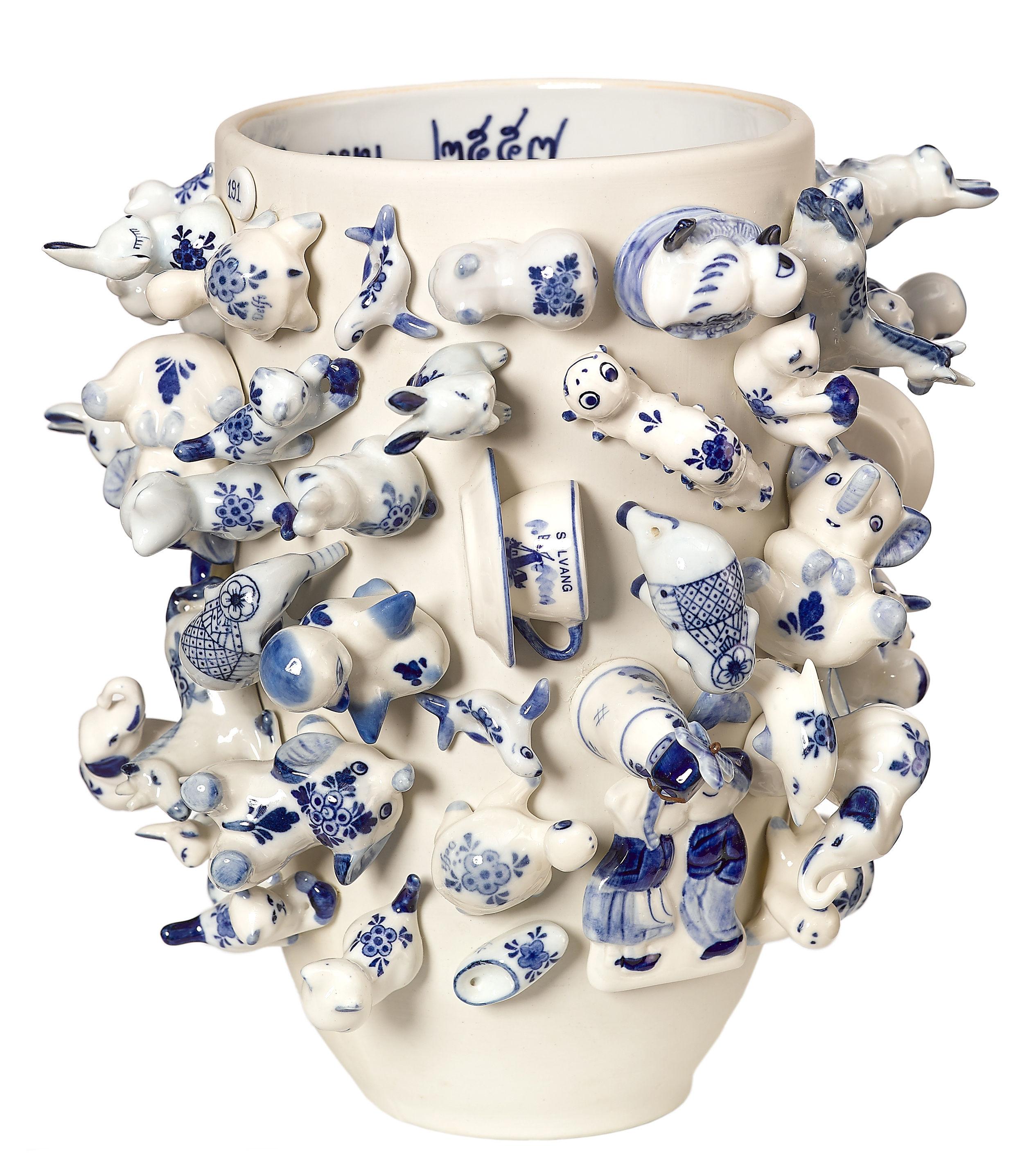 Decoration - Vases - Souvenir Holland Vase - H 25 cm by Pols Potten - White / Blue - China
