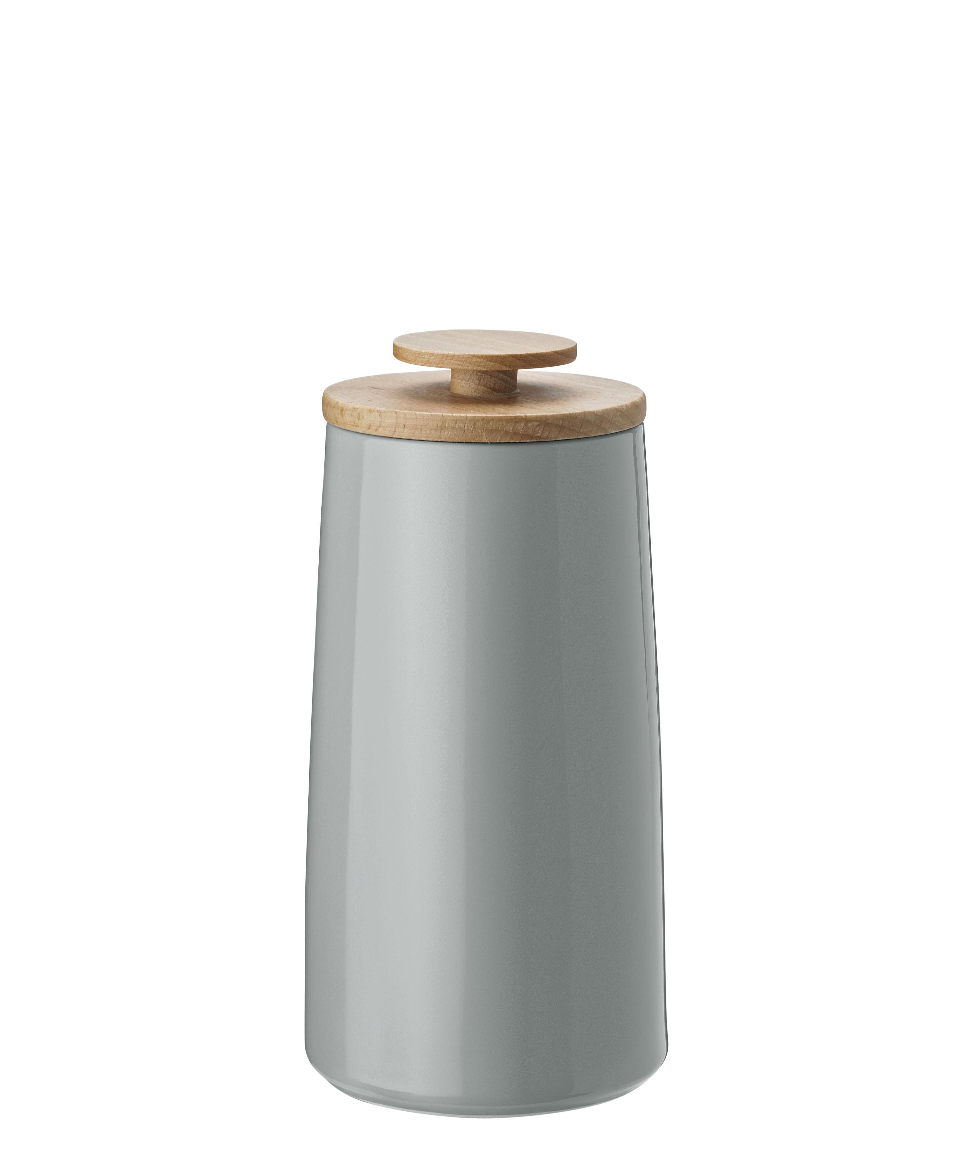 Tischkultur - Tee und Kaffee - Emma Vorratsdose / für Tee - 1,2 l - Stelton - Grau / 0,8 l - Bois de hêtre, emaillierter Sandstein