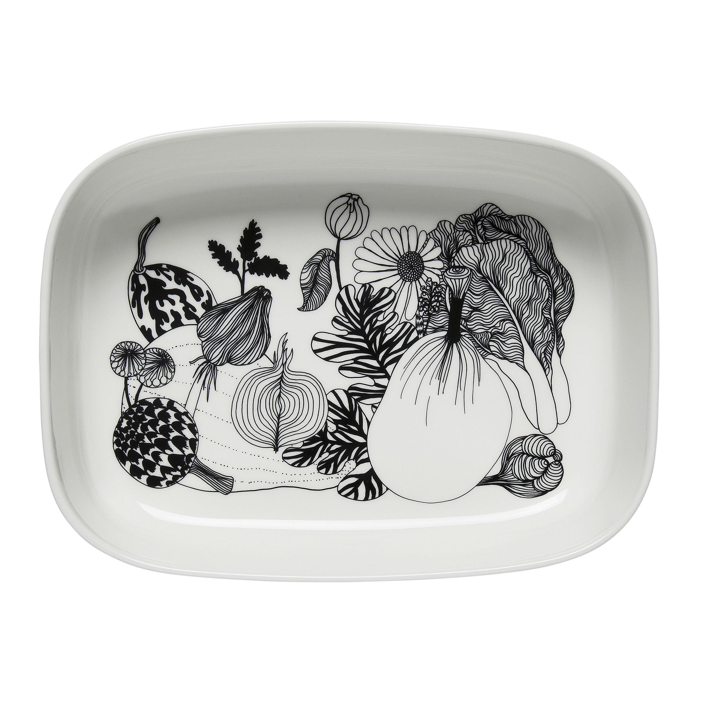 Tableware - Serving Plates - Siirtolapuutarha Baking dish - / 28 x 20.5 cm - Ceramic by Marimekko - Siirtolapuutarha / Black & white - Sandstone