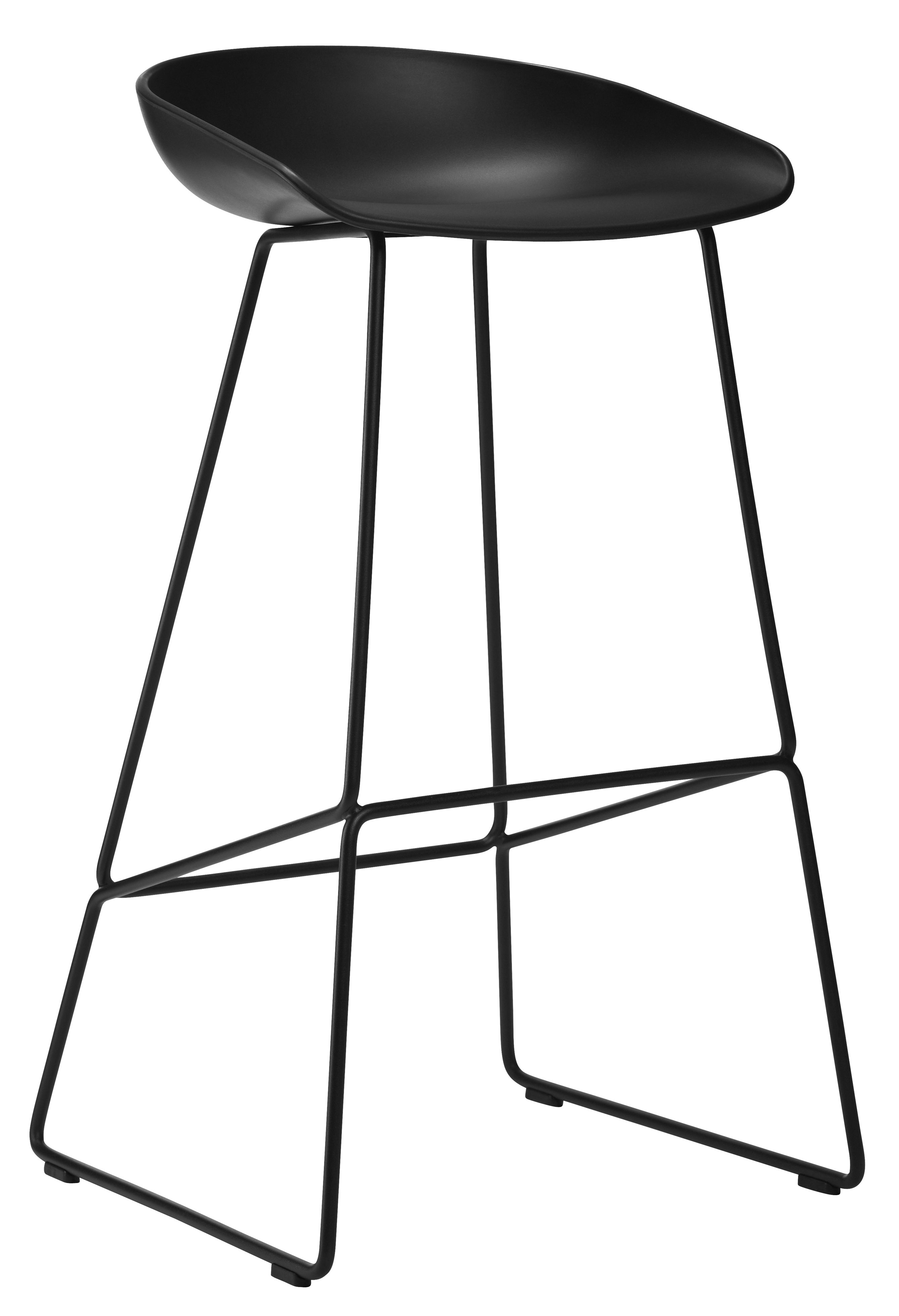 Furniture - Bar Stools - About a stool AAS 38 Bar stool - H 75 cm - Steel sled base by Hay - Black - Polypropylene, Steel