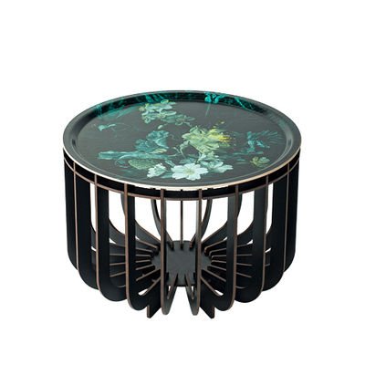 Furniture - Coffee Tables - Medusa Medium Coffee table - / Ø 46 x H 33 cm - Detachable top by Ibride - Black legs / Emerald Vibration - HPL laminate