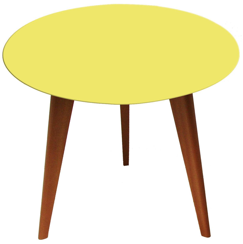 Möbel - Couchtische - Lalinde Ronde Couchtisch rund - groß, Ø 55 cm / Tischbeine aus Holz - Sentou Edition - Gelb / Tischbeine Holz - klarlackbeschichtete Eiche, lackierte Holzfaserplatte
