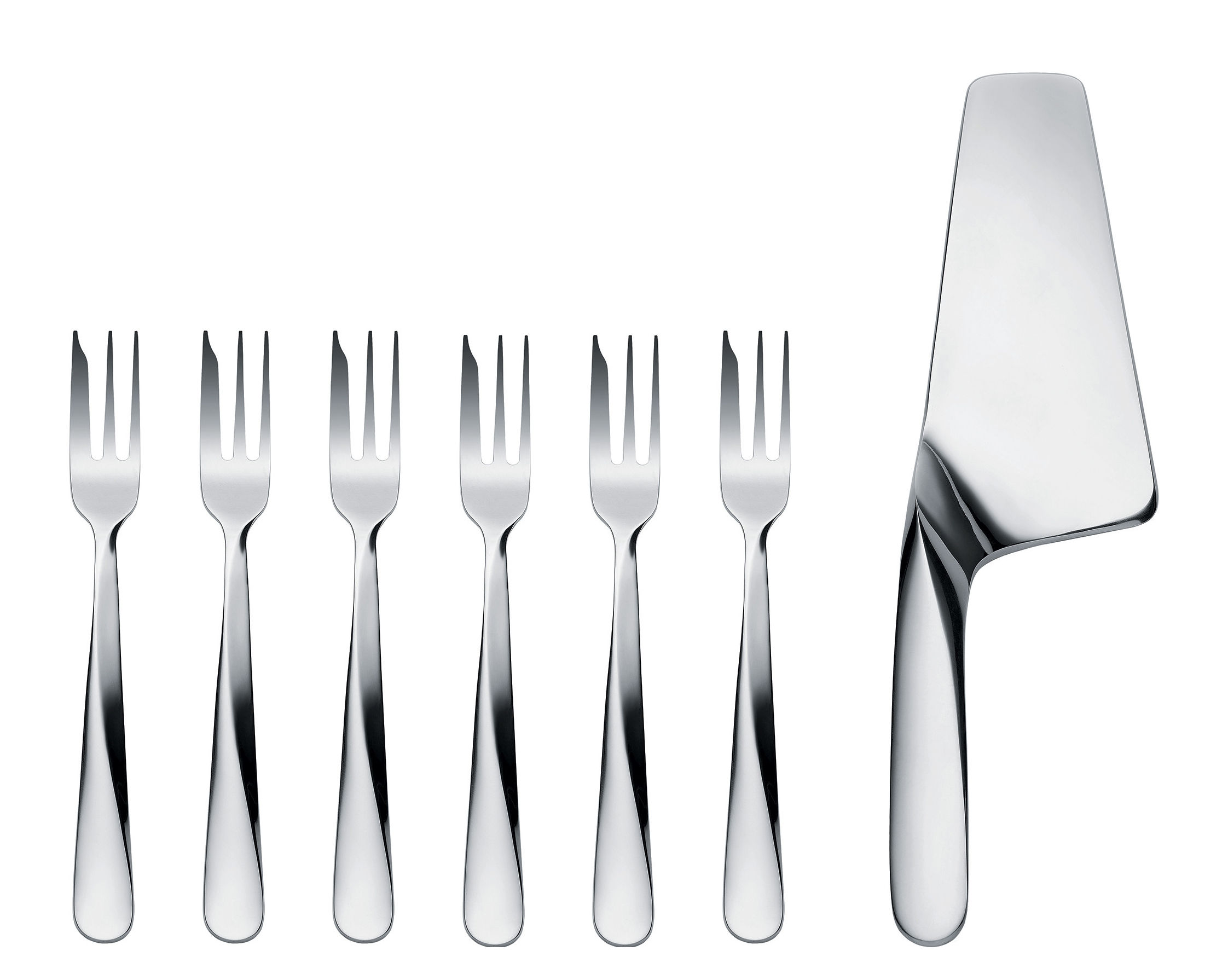 Tableware - Cutlery - Giro Cutlery set - For dessert 7 pieces by Alessi - Steel - Stainless steel