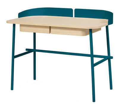 Furniture - Office Furniture - Victor Desk by Hartô - Blue / Natural wood - Lacquered metal, MDF veneer oak