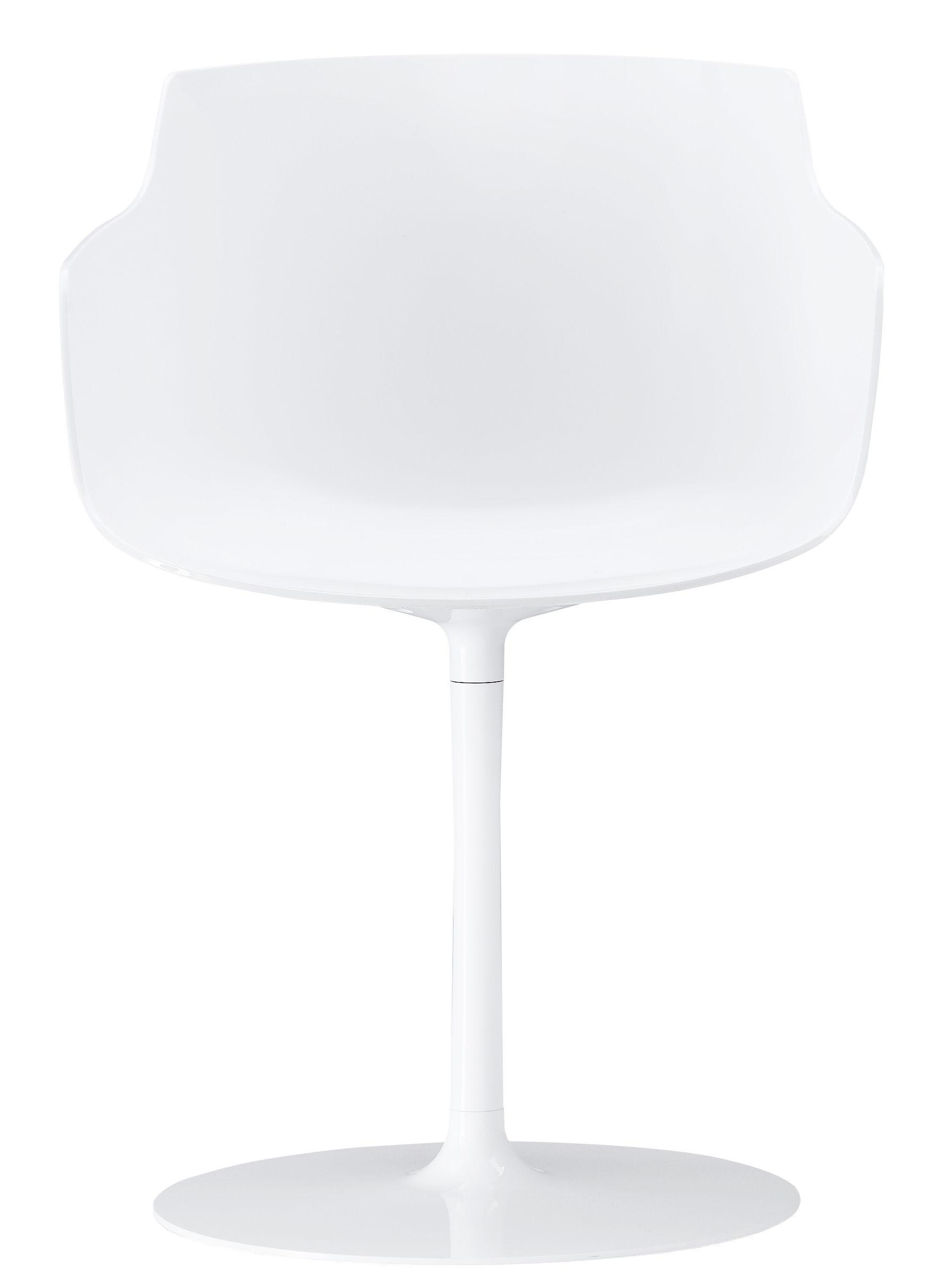 Möbel - Stühle  - Flow Slim Drehsessel / mit Mittelfuß - MDF Italia - Weiß / Fuß weiß - lackiertes Aluminium, Polykarbonat