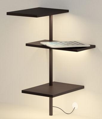 Etagère lumineuse Suite / H 62 cm / Port USB - Branchement mural - Vibia marron foncé en métal