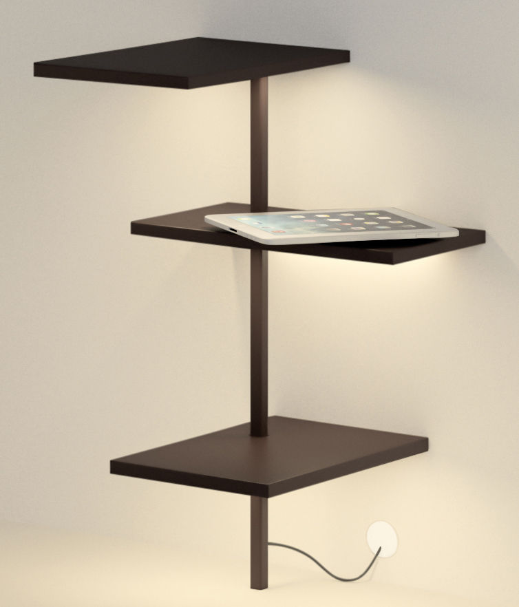 Mobilier - Etagères & bibliothèques - Etagère lumineuse Suite / H 62 cm / Port USB - Branchement mural - Vibia - Marron foncé - Métal laqué, Polycarbonate