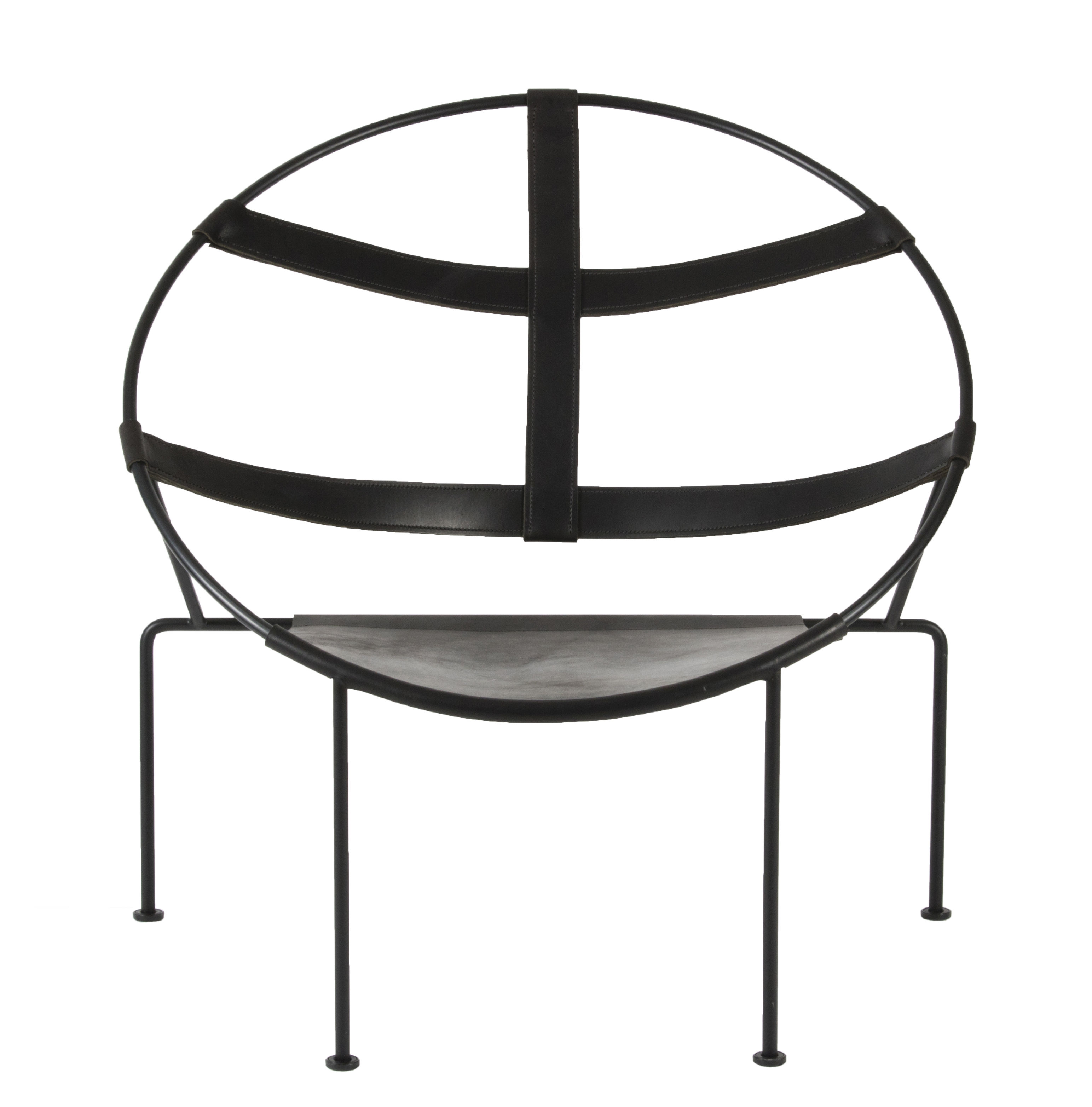 Mobilier - Fauteuils - Fauteuil FDC1 / Cuir & acier - Réédition 50' - Objekto - Noir - Acier époxy recyclé, Cuir pleine fleur
