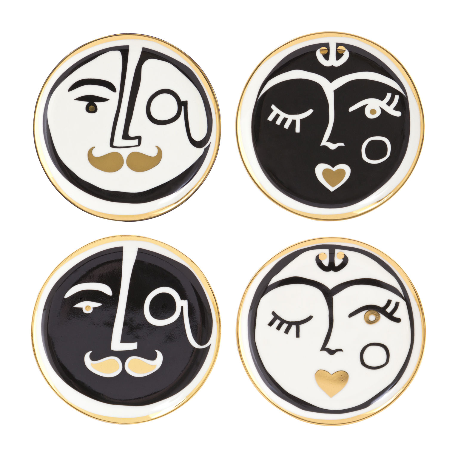 Tableware - Table Mats & Trivets - Marseilles Glass coaster - / Set of 4 - China & 24-carat gold by Jonathan Adler - Black, White & gold - China