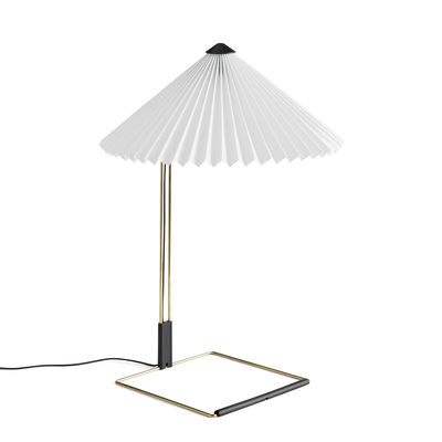 Illuminazione - Lampade da tavolo - Lampada da tavolo Matin Large - / LED - H 52 cm - Tessuto & metallo di Hay - Bianco / Ottone lucidato - Acciaio con finitura in ottone, Cotone pieghettato