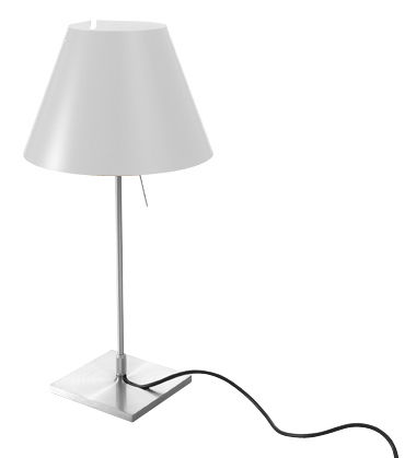 Luminaire - Lampes de table - Lampe de table Costanzina / H 51 cm - Luceplan - Blanc / Pied métal - Aluminium, Polycarbonate