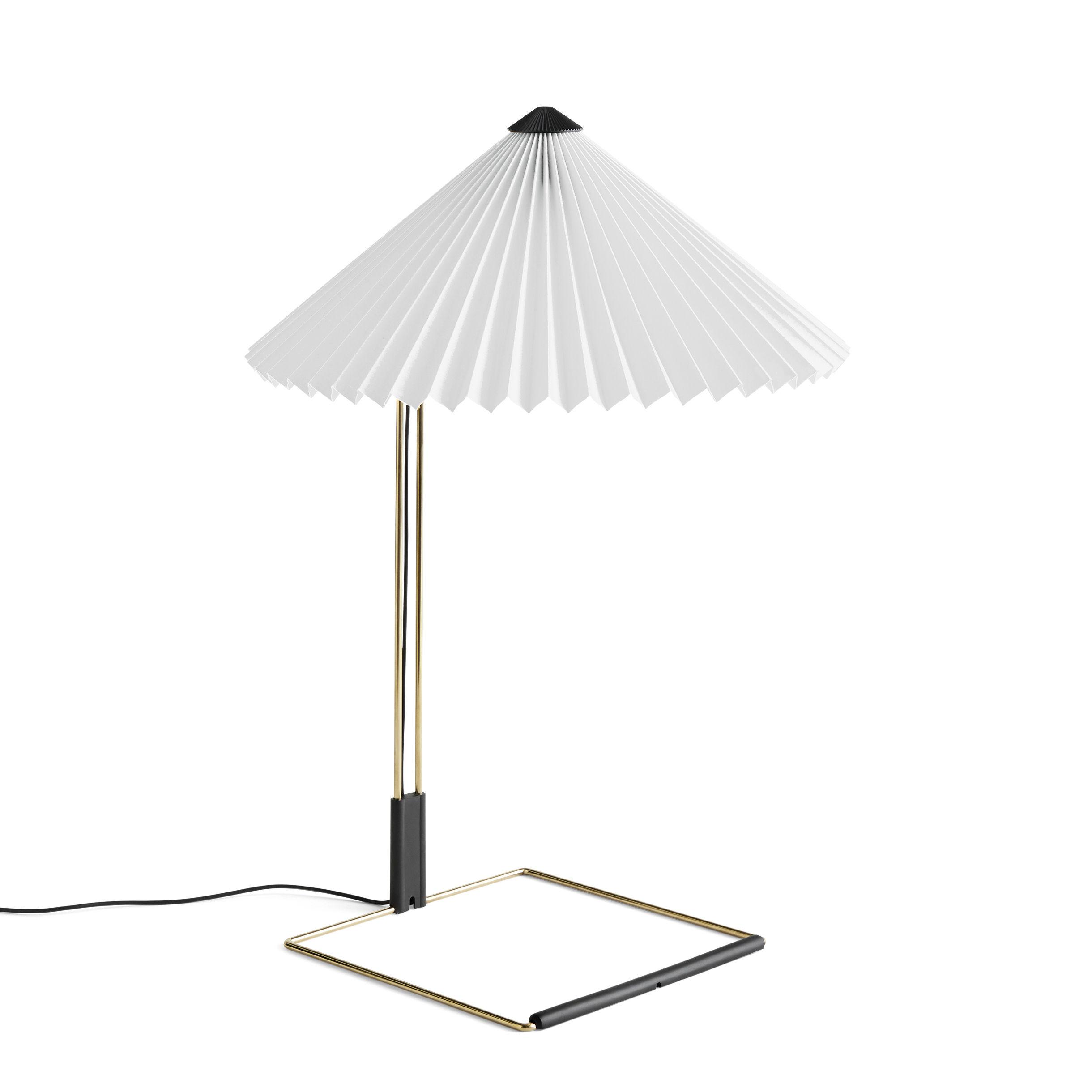 Luminaire - Lampes de table - Lampe de table Matin Large / LED - H 52 cm - Tissu & métal - Hay - Blanc / Laiton poli - Acier finition laiton, Coton plissé