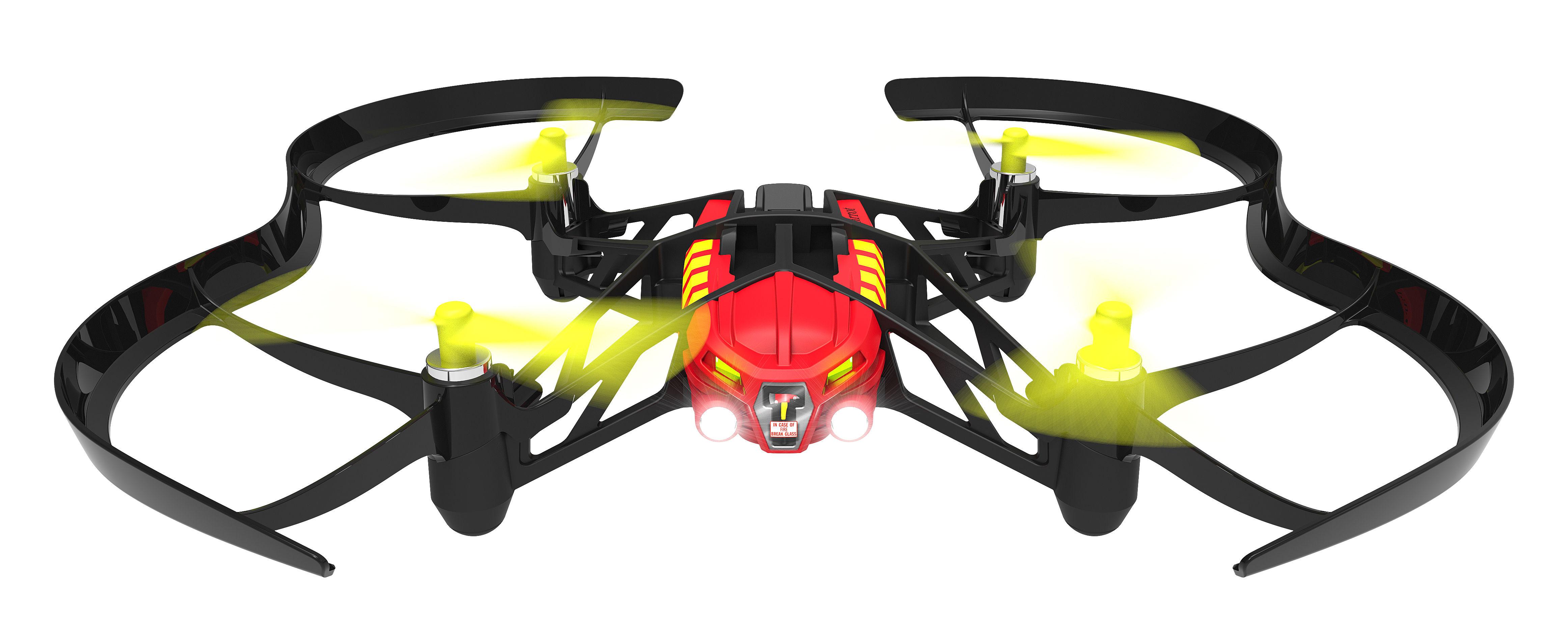 Accessoires - Technik - Airborne Night Blaze Minidrohne / Bluetooth - mit Onboard-Kamera - mit Scheinwerfern - Parrot - Rot & gelb / schwarz - Polyamid