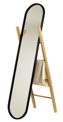 Decoration - Mirrors - Hub Mirror with base - H 157 cm by Umbra - Natural ash wood / Black - Glass, Natural beechwood, Rubber