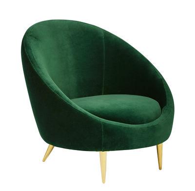 Furniture - Armchairs - Ether Padded armchair - / Velvet & brass by Jonathan Adler - Emerald green / Brass - Foam, Polished brass, Velvet