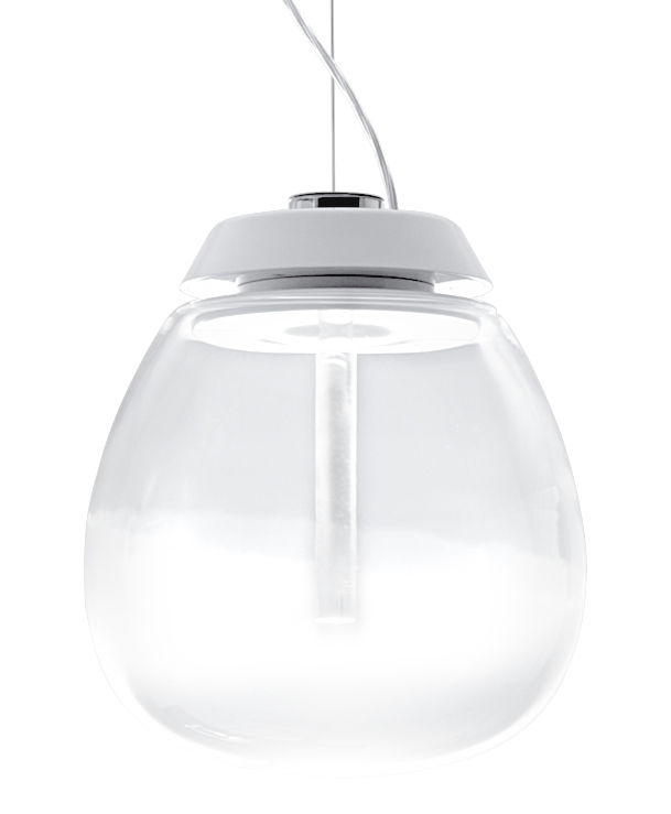 Leuchten - Pendelleuchten - Empatia Pendelleuchte LED / Ø 26 cm - Artemide - Ø 26 cm / transparent & weiß - geblasenes Glas, klarlackbeschichtetes Aluminium, Methacrylate