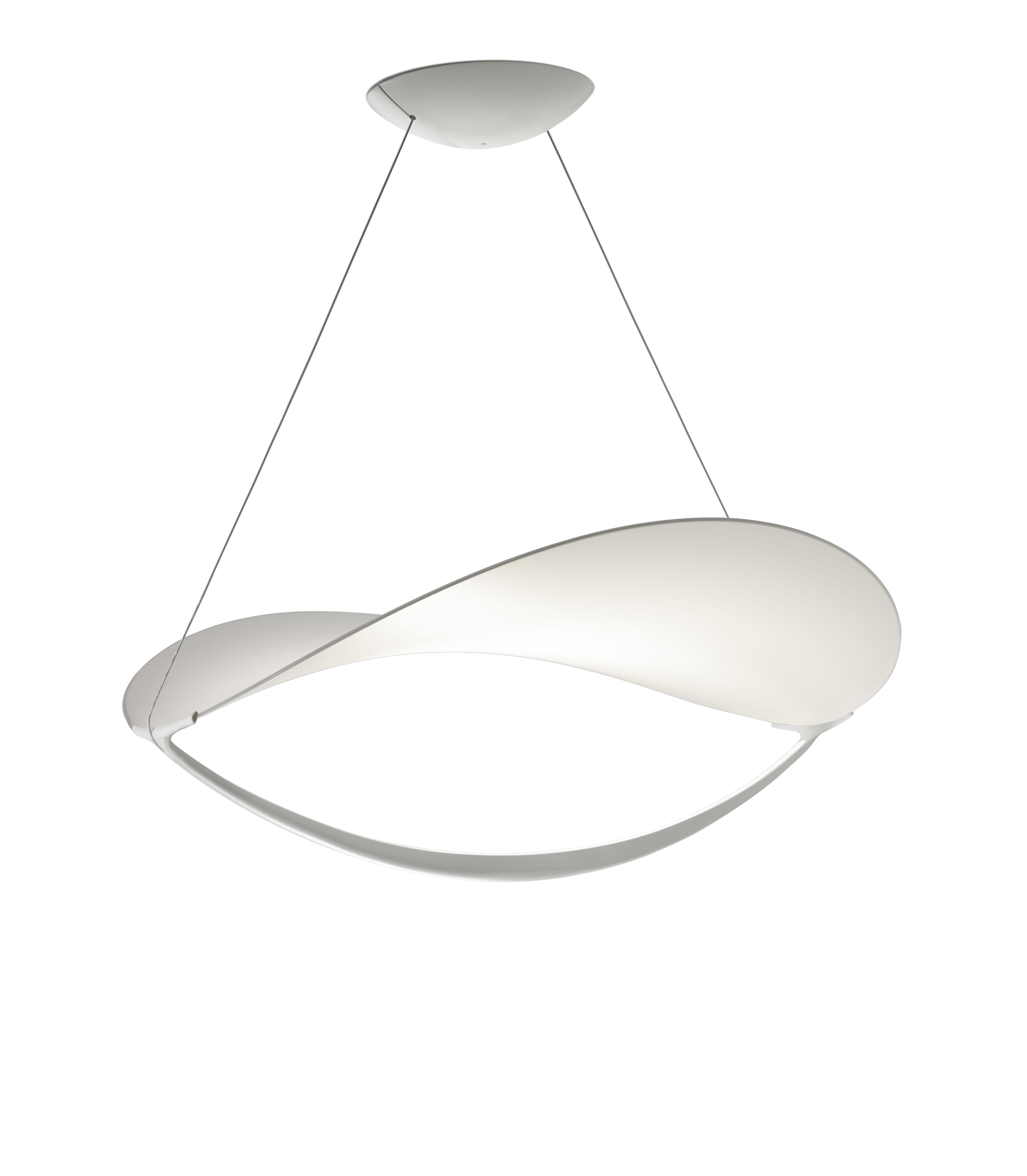 Leuchten - Pendelleuchten - Plena LED Pendelleuchte / Stoff - Ø 70 cm - Foscarini - Weiß / nicht dimmergeeignet - klarlackbeschichtetes Aluminium, Toile PVC