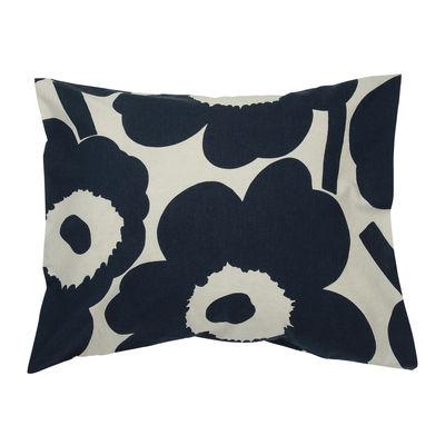 Decoration - Bedding & Bath Towels - Unikko pillowcase 65 x 65 cm - / 65 x 65 cm by Marimekko - Unikko / Beige cotton & dark blue - Cotton, Linen