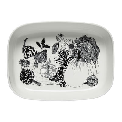 Arts de la table - Plats - Plat à gratin Siirtolapuutarha / 28 x 20,5 cm - Céramique - Marimekko - Siirtolapuutarha / Noir & blanc - Grès
