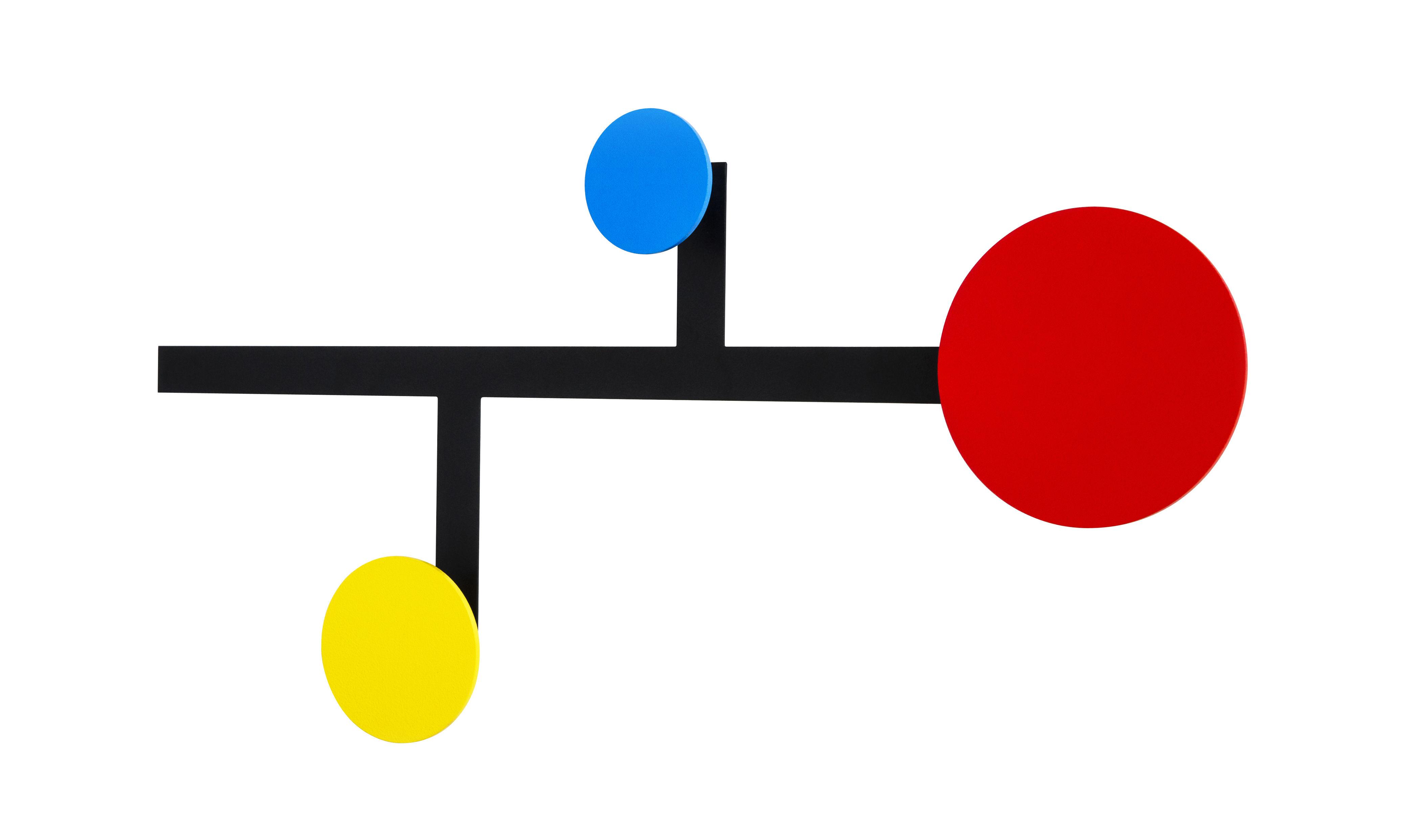 Mobilier - Portemanteaux, patères & portants - Portemanteau mural Piet / Métal - 3 patères - Presse citron - Rouge, jaune, Bleu / Structure noire - Acier laqué