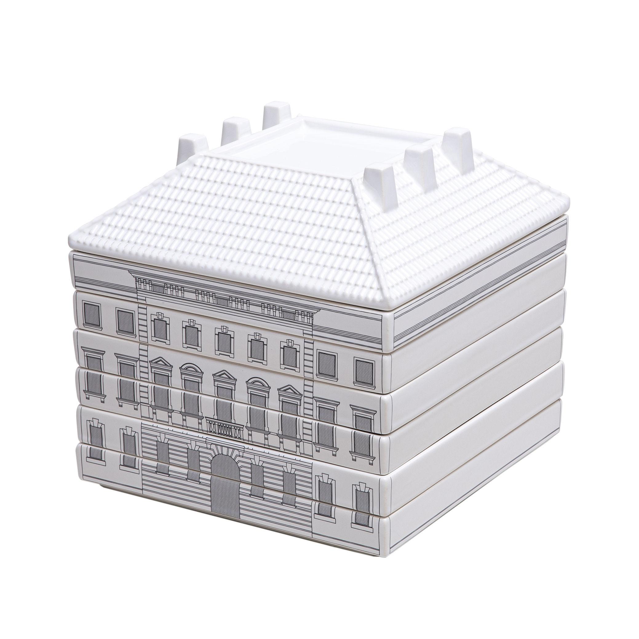 Arts de la table - Assiettes - Set vaisselle Palace - Signoria / 6 assiettes + 1 plat empilables - Seletti - Blanc & noir - Porcelaine de Limoges