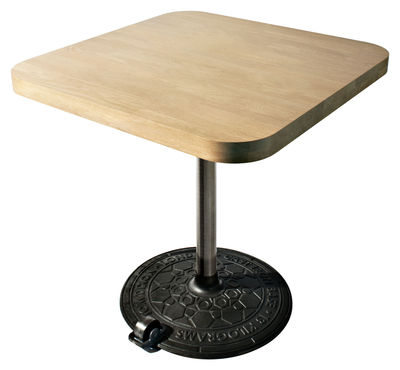 Product selections - Industrial design - Roll table Square table - 80 x 80 cm by Tom Dixon - Blanched birch - Bleached birch, Cast iron, Metal