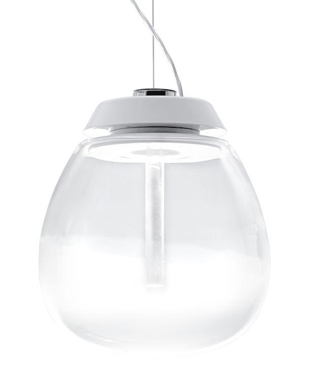 Luminaire - Suspensions - Suspension Empatia LED / Ø 26 cm - Artemide - Ø 26 cm / Transparent & blanc - Aluminium verni, Méthacrylate, Verre soufflé