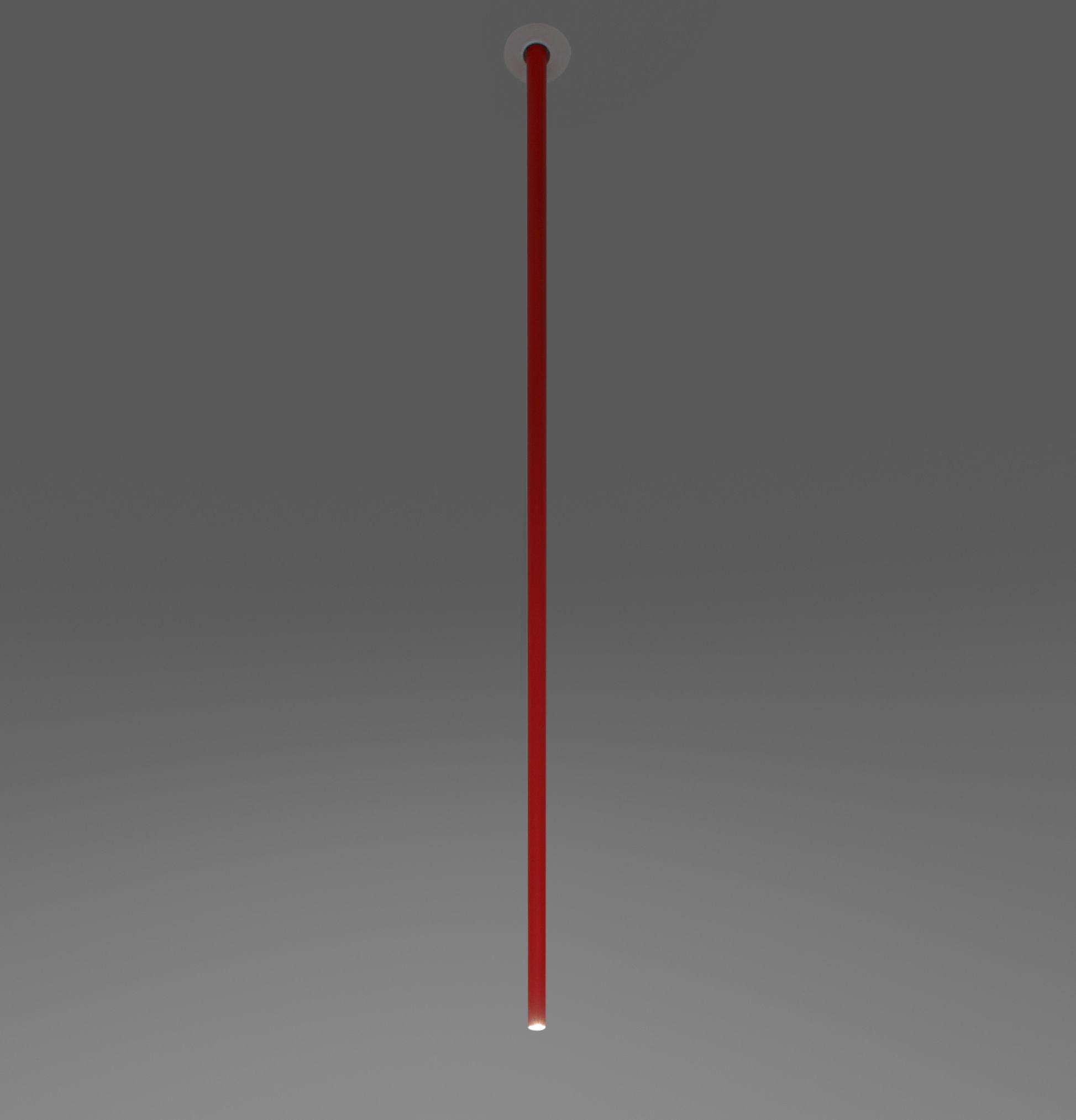 Luminaire - Suspensions - Suspension Iosif / LED - H 150 cm - Artemide - Rouge - Aluminium verni