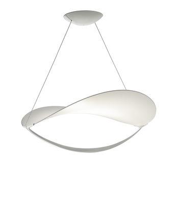 Luminaire - Suspensions - Suspension Plena LED / Tissu - Ø 70 cm - Foscarini - Blanc / Non dimmable - Aluminium verni, Toile PVC