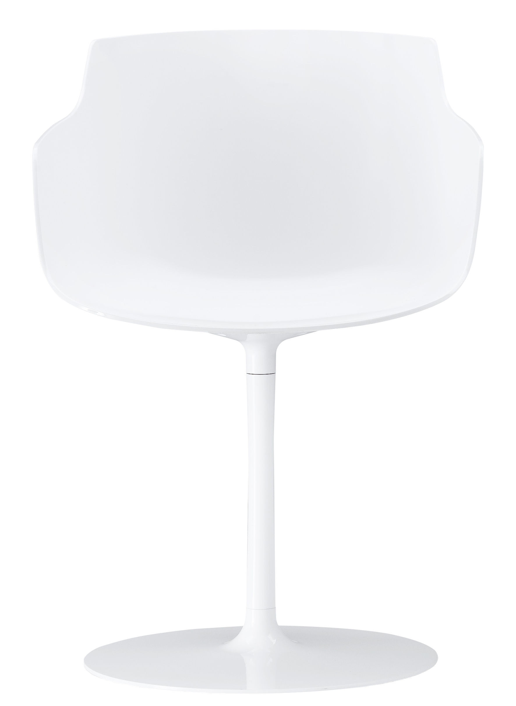 Furniture - Chairs - Flow Slim Swivel armchair - Central leg by MDF Italia - White / White leg - Lacquered aluminium, Polycarbonate