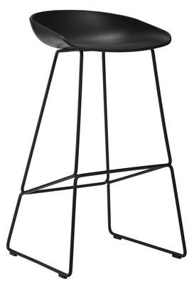 Mobilier - Tabourets de bar - Tabouret de bar About a stool AAS 38 / H 75 cm - Piètement luge acier - Hay - Noir - Acier, Polypropylène