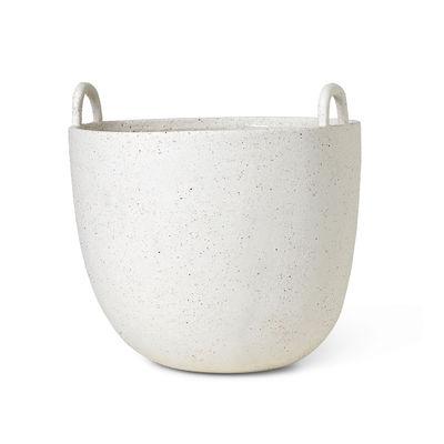 Interni - Cestini e Centrotavola  - Vaso per fiori Speckle Large - / Ciotola - Ø 30 x H 30 cm / Gres di Ferm Living - Ø 30 cm / Bianco sporco - Gres
