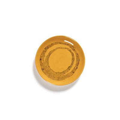 Arts de la table - Assiettes - Assiette à mignardises Feast XS / Ø 16 cm - Serax - Points / Jaune & noir - Grès émaillé