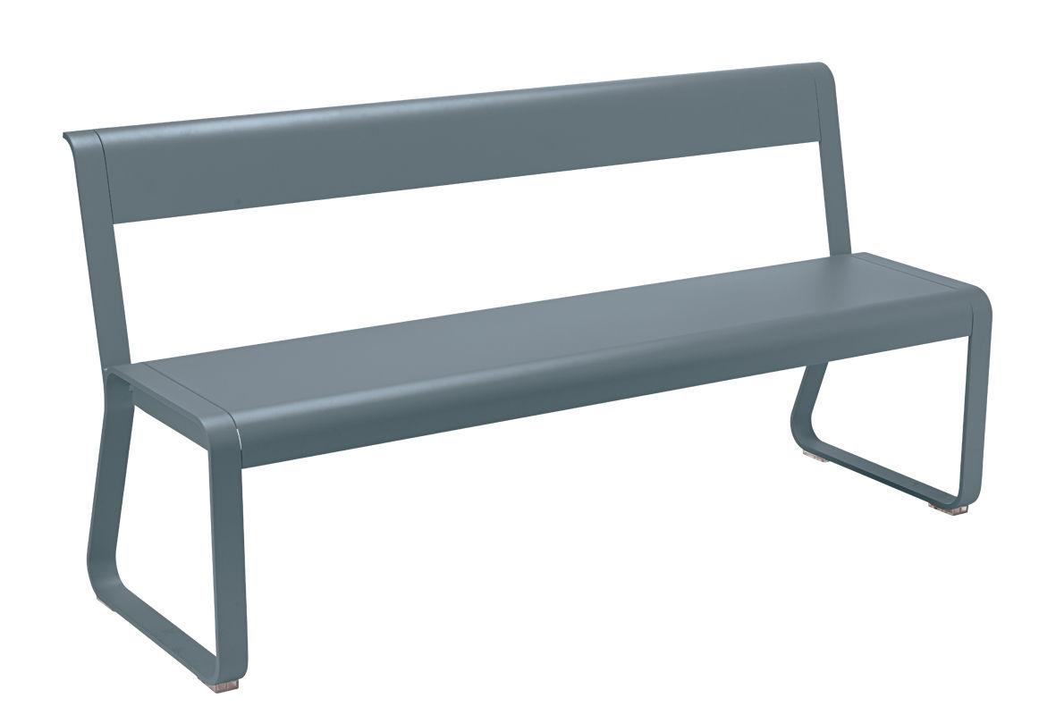 Möbel - Bänke - Bellevie Bank mit Rückenlehne / L 161 cm - 4-Sitzer - Fermob - Gewittergrau - Aluminium, Stahl